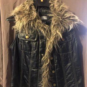 Black leather vest faux fur trim